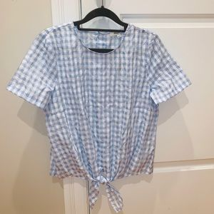 Gingham Tie-Bottom Blouse